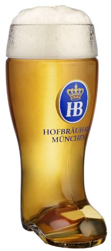 Large One Liter Hofbrauhaus Glass Beer Boot