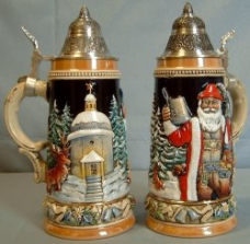 German Christmas Beer Stein -LE-  Alpine Santa Silent Night Chapel