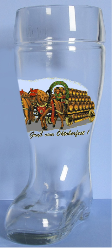 Gruss Vom Oktoberfest German Glass Beer Boot .5 Liter