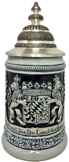 Blue  Bayern Bavaria Coat of Arms German Beer Stein .5 L