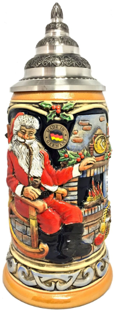Santa Claus sitting at Home LE German Beer Stein .75L