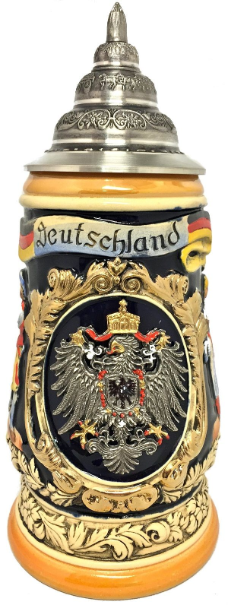 Deutschland  with Pewter Eagle and Cities LE German Beer Stein 1 L
