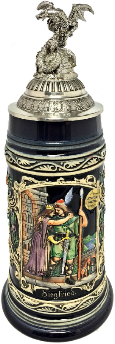 Siegfrieds Departure with 3D Dragon Pewter Lid LE German Beer Stein .75 L