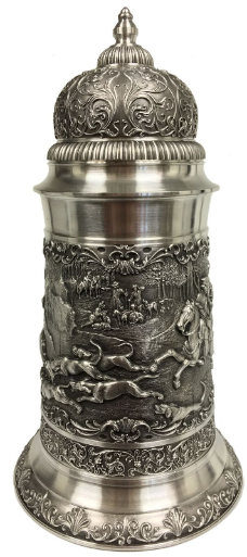 Deer Hunters with Dogs Relief German Pewter Beer Stein 1.75 L