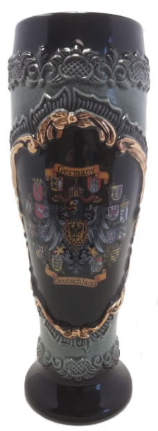 Black Wheat Beer Cup with Gold Relief  .5L