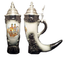 German Black Beer Horn Stein - Oktoberfest