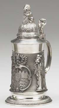 Bavarian Lion Fine English Pewter Stein  1L