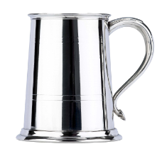 Commodore Two Line Fine English Pewter Tankard with Swan Handle