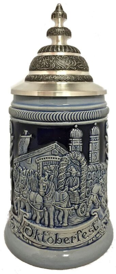 Blue Oktoberfest Festival with Horse Drawn Beer Wagon German Beer Stein .5 L