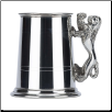 Commodore Two Line Fine English Pewter Tankard with Lion Handle
