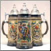 German Beer Stein - Rustic Abschied Farewell Trumpeter with Horse  1L