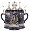 German Beer Stein  - LE - Blue w/ Pewter Eagle .5L