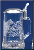 German Beer Stein - Hockey Player Glass Stein