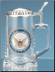 Glass Beer Stein - Navy
