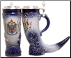 German Beer Stein - German Horn with Pewter Lid .5L